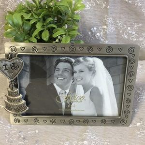 Wedding Picture Frame with wedding Cake Charm